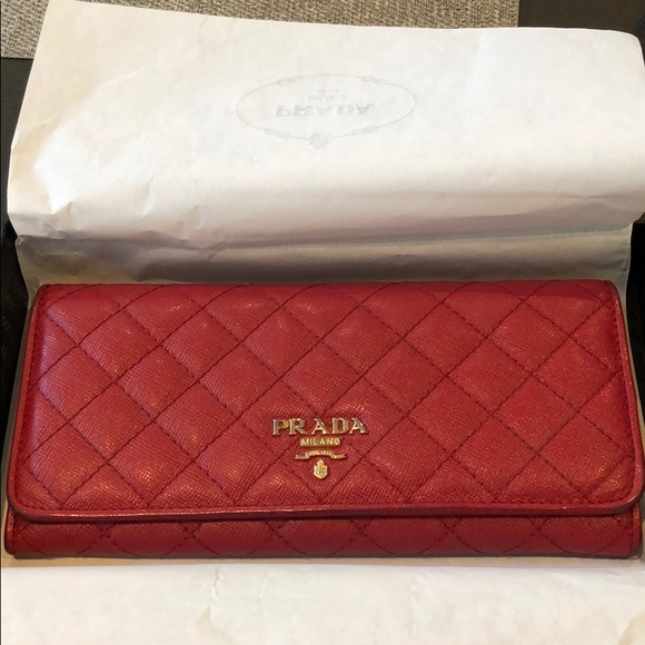 Prada Handbags - Prada Red Quilted Wallet